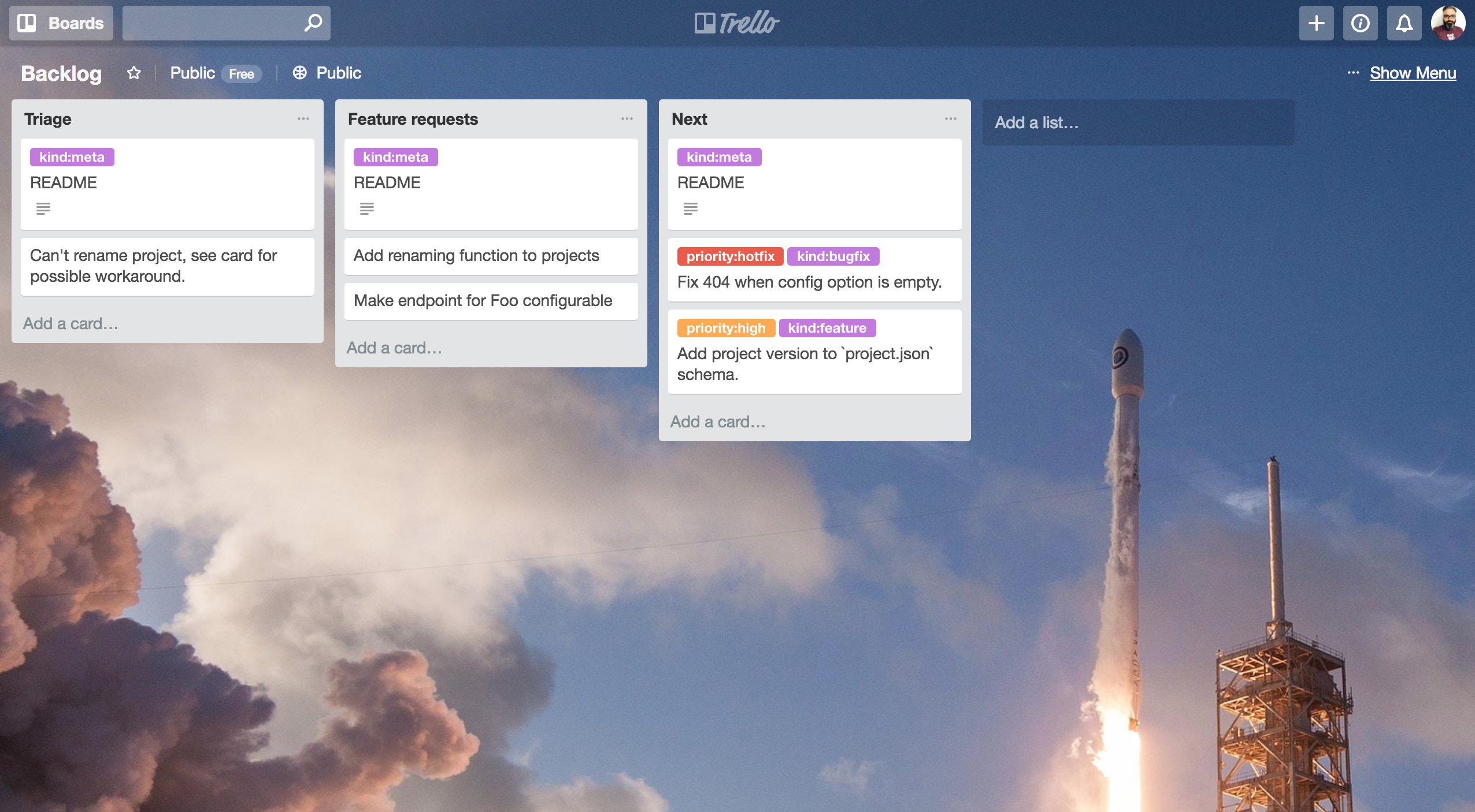 the Backlog in Trello